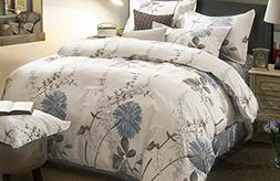 Wake In Cloud - Floral Duvet Cover Set, 100% Cotton Bedding,
