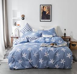 4-piece Duvet Cover Queen,100% Cotton Reversible White Starf