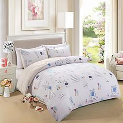 Duvet Cover Set with Zipper Closure and Corner Ties,White/Ye