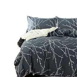 VM VOUGEMARKET Reversible Grey Bedding Set,3 Pieces Branch L