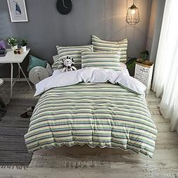 Merryfeel Duvet Cover Set,100% Cotton Seersucker Stripe Duve
