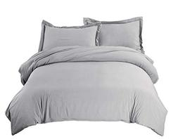 Bedsure Grey Duvet Cover Set with Zipper Closure, Washed Pro