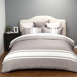 Bedsure Duvet Cover Set with Zipper Closure-Grey/White Strip