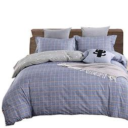 Uozzi Bedding 3 Piece Duvet Cover Set with Zipper Closure,Bl