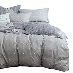Uozzi Bedding 3 Piece Gray Duvet Cover Set  with Dots & Cros
