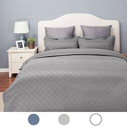 Bedsure Duvet Cover Set with Zipper Closure-Grey Diamond Pat
