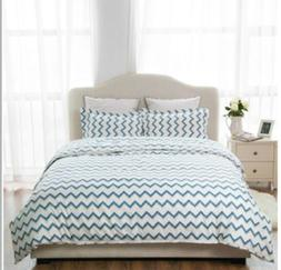Duvet Cover Set By BedSure Queen Size Zippered  Aqua Zigzag