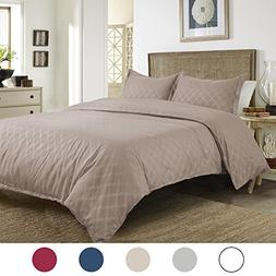 Duvet Cover Set with Zipper Closure-Camel Diamond Pattern, F