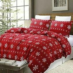 Vaulia Duvet Cover Set Christmas holiday Red Snowflake full/