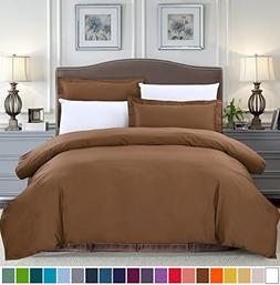SUSYBAO 3 Pieces Duvet Cover Set 100% Cotton Queen Size 1 Du