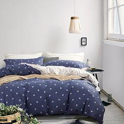 NTBAY 3 Pieces Duvet Cover Set 100% Cotton Sateen Printed Re