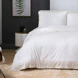 3 Piece Duvet Cover Set King Size 104x90 Ivory with 2 pillow