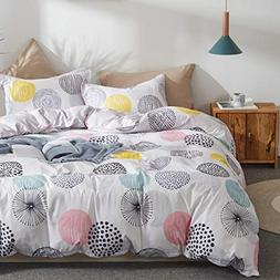 Uozzi Bedding 3 Piece Duvet Cover Set Queen  with Colorful D