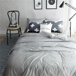 VM VOUGEMARKET Duvet Cover Set Queen,Striped Duvet Cover wit