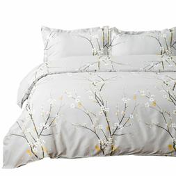 Bedsure Duvet Cover Set Twin Grey Printed Spring Bloom Patte