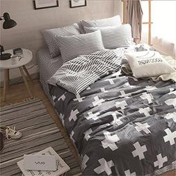 VM VOUGEMARKET 3 Pieces Duvet Cover Sets Queen Gray, White C