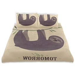 SUABO 3 Pieces Duvet Cover Twin Bedding Set Soft Sloth with