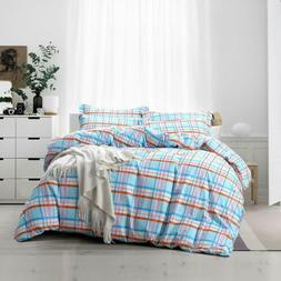Duvet Cover with 2 Pillow Shams Brushed Microfiber Stain Res