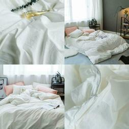 Duvet Covers Queen Solid White Soft 100% Washed Cotton Duvet