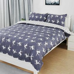 Duvet Doona Quilt Cover 100% Cotton 3 Pieces Bedding Pillowc