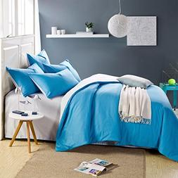 InfiniteS Duvet Set 100 Cotton Reversible Solid Color Soft D