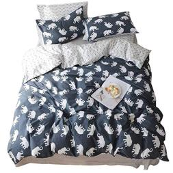 HIGHBUY Elephant Print Pattern Kids Duvet Cover Sets Twin Da