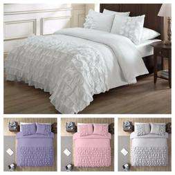 Chezmoi Collection Ella Shabby Chic Ruffle Duvet Cover Set,