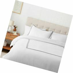 AmazonBasics Embroidered Hotel Stitch Duvet Cover Set - Prem