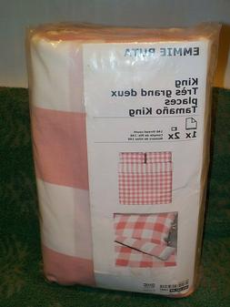Ikea EMMIE RUTA Duvet cover and pillowcases light pink & whi