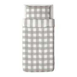 Ikea Emmie Ruta Duvet Cover and Pillowcases, Twin, Gray