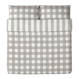 Ikea Emmie Ruta Duvet Cover and Pillowcases, King, Gray