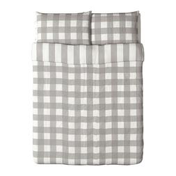 Ikea Emmie Ruta Duvet Cover and Pillowcases, Full/Queen, Gra