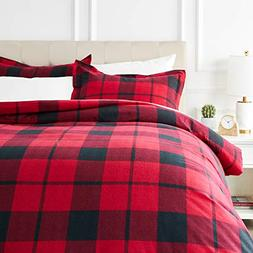 AmazonBasics Everyday Flannel Duvet Cover Set - Full/Queen,