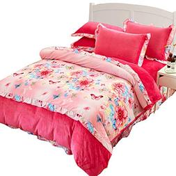 Flannel Floral Warm Duvet Cover Set 4PC Bedding Sets for Que