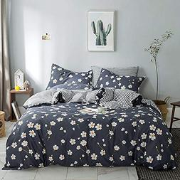 VM VOUGEMARKET Floral Duvet Cover Set King,100% Cotton Daisy