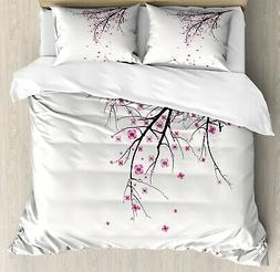 Floral Duvet Cover Set with Pillow Shams Cherry Blossom Flow