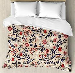Floral Duvet Cover Set with Pillow Shams Abstract Blossoms L