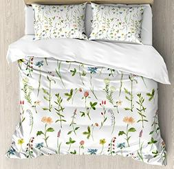 Ambesonne Floral Duvet Cover Set, Spring Season Themed Water