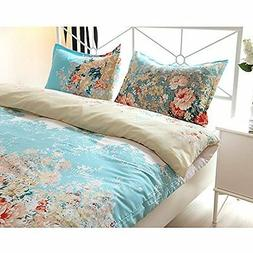 Floral Print Pattern Duvet Cover Sets with Pillow Shams King
