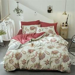 VM VOUGEMARKET Flower Duvet Cover Set Queen,Percale Cotton 3