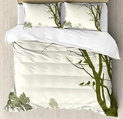 Ambesonne Forest Duvet Cover Set Queen Size, Nature Theme Th
