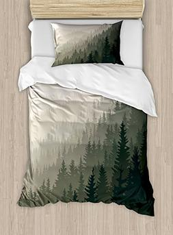 Ambesonne Forest Duvet Cover Set Twin Size, Northern Parts o