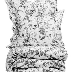 French Country White Gray Floral Full Queen Size Duvet Cover