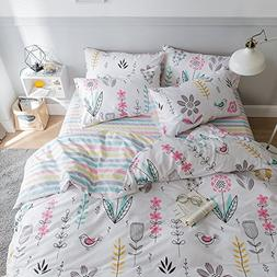 VM VOUGEMARKET Girl's Duvet Cover Set Queen,Flower Branch Pr