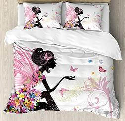 Ambesonne Girls King Size Duvet Cover Set, Fairy Girl with W