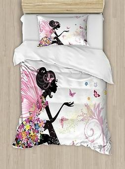 Ambesonne Girls Twin Size Duvet Cover Set, Fairy Girl with W