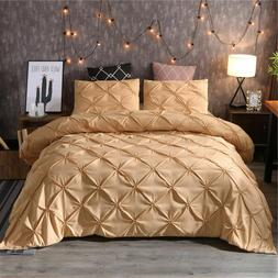 Gold Duvet Cover Set Pillow Sham Set Pinch Pleat Pintuck Pol