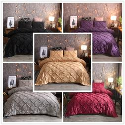 Gold Pinch Pleated Duvet Cover Set Solid Color Ruffle Beddin