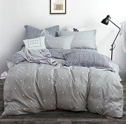 Uozzi Bedding 3 Piece Gray Duvet Cover Set King  with Dots a