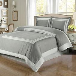 Gray and Lt-Gray Hotel 8-piece Full Bed-in-a-Bag 100 % Cotto